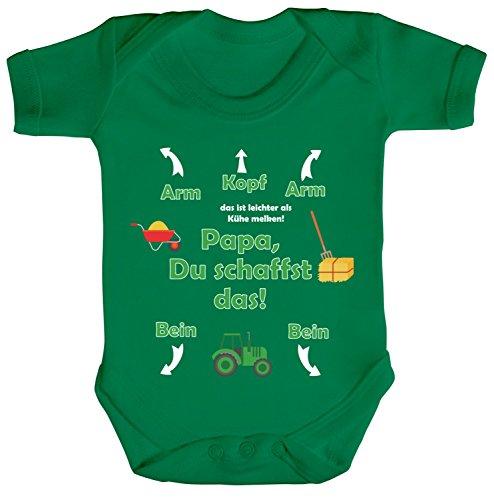 ShirtStreet Geschenk zum Vatertag Trecker Traktor Strampler Bio Baumwoll Baby Body kurzarm Jungen Mädchen Landwirt - Papa Du schaffst das, Größe: 3-6 Monate,Kelly Green