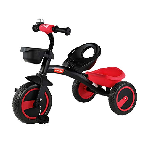 Luvlap - 18634 Joy Baby Kids Tricycle with Full Metal Frame & Anti-Slip Pedals, 1.5 to 5 Years, Carry Capacity up to 25 Kg (Red)