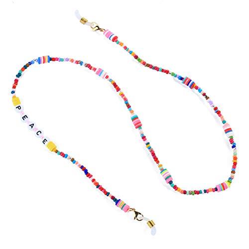 KELITCH Brillenketten Regenbogen Perlen Halsketten für Maskenketten Halskette Boho Schmuck Halskette Brief Choker 2020 Modehalsbänder Brillenhalter Halter Strape(03C)