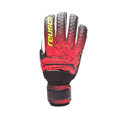 Reusch Herren Fit Control RG Finger Support Torwarthandschuhe, Black/fire red, 10