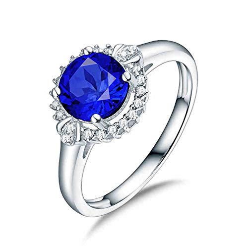 Aartoil 18K White Gold Wedding Bands for Women Round Ring (Tanzanite: 1.26ct/1pcs) Size J 1/2