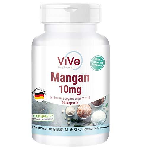 Mangan - 10mg - 90 Kapseln - Hochdosiert - Vegan - Hergestellt in Deutschland
