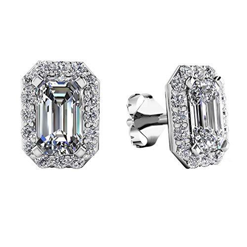 Ani's Pendientes de halo con forma de esmeralda de diamante blanco de 0,66 quilates para mujer en oro de 14 quilates