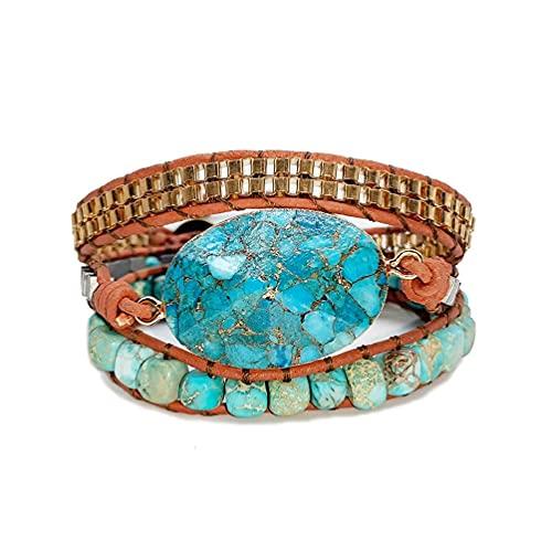 Frotox Piedras Naturales Hechas a Mano Turquesas Charm 3 hebras Wrap Pulseras Boho Crystal Hematite Bead Mix Mujeres Pulsera de Cuero Brazalete