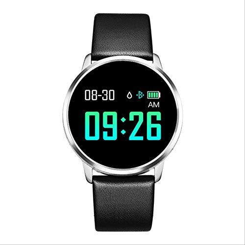 WERNG Q8 Reloj Inteligente OLED Pantalla De Color Smartwatch Mujeres Moda Fitness Rastreador Monitor De Frecuencia Cardíaca Correa De Cuero Negro2