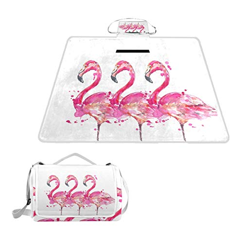 SLHFPX Pink Flamingo Bird Watercolor Waterproof Picnic Blanket Lawn Blanket Sandproof Beach Blanket Travel Tent BBQ Mat Camping Tote Layers Portable Family Size Handy Mat 57' x 59'