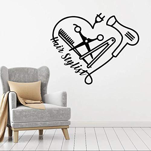 Barber Tools Aufkleber Wandbild Vinyl Wandtattoo Kamm Schere Fön Friseur Tattoo Wanddekoration 42x33cm