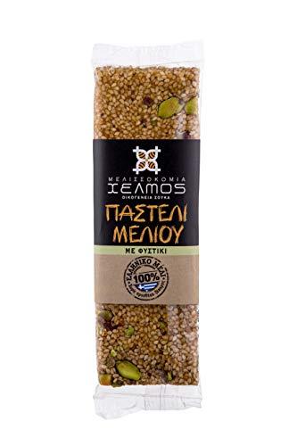 Helmos Griechischer Sesamriegel - Pasteli mit griechischem Honig und Pistazien 75 g, 5er Pack