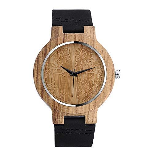 MICGIGI Reloj de pulsera de cuarzo de madera de bambú natural unisex con correa de cuero genuino