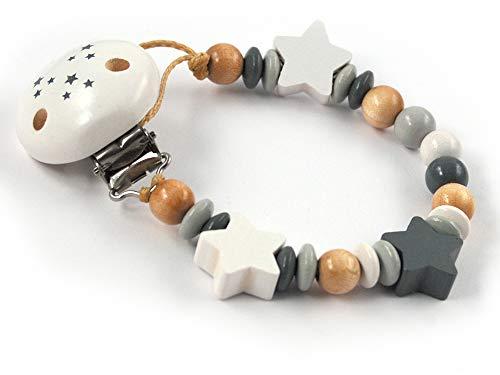 Schnullerkette ohne Namen mit Sternen - Mädchen, Jungen, Unisex Holz - tollesTaufgeschenk oder Geburtsgeschenk(weiß, natur, grau)