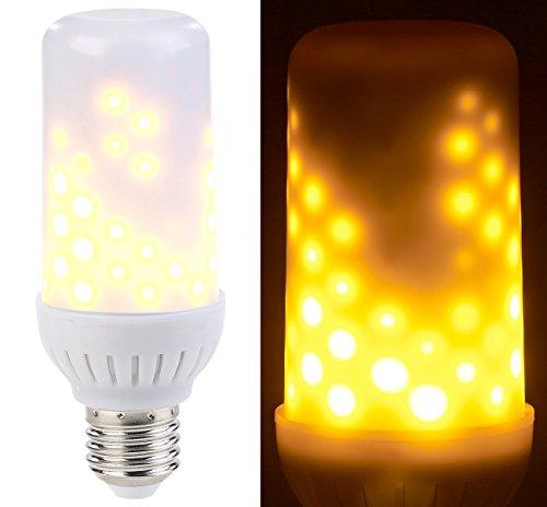 Luminea LED Flammenlampe: LED-Flammen-Lampe mit realistischem Flackern, E27, 96 LEDs, 160 lm (LED Feuer Lampe)