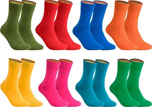 gigando – Socken Herren Baumwolle Uni Farben 4er oder 8er Pack in Premiumqualität – Strümpfe für Anzug, Business und Freizeit - olive, orange, rosa, blau, rot, gelb, petrol, grün Gr. 43-46