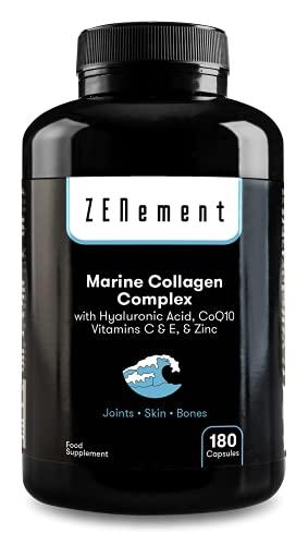 Complesso di Collagene Marino, con Acido Ialuronico, CoQ10, Vitamina C & E e Zinco, 180 Capsule | Peptidi per articolazioni, pelle e ossa | di Zenement