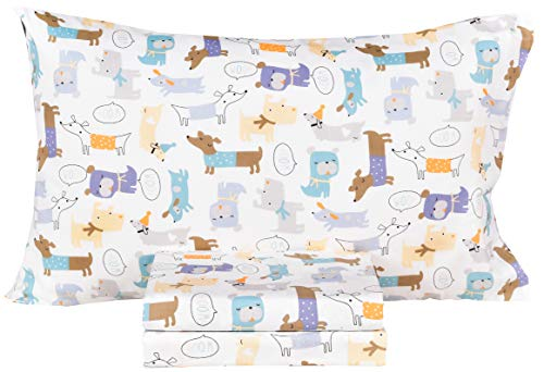Dogs Puppy Lovely Cotton Cozy Twin Bed Sheet Set, Flat Sheet & Fitted Sheet & Pillowcase Boys Girls Bedding Set (Dogs, Twin)