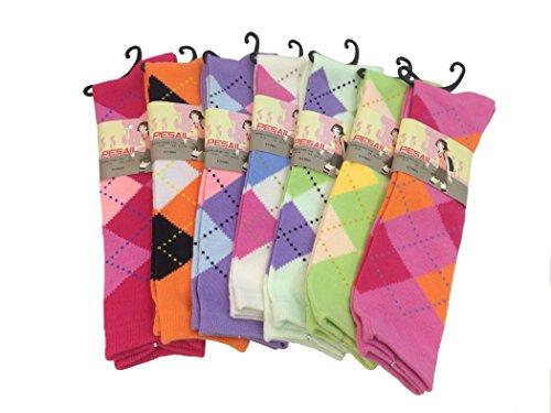 Pesail S600X Paar Mädchen Kniesocken Socken mit Karomuster (23-26, Mint/Hellgrün)