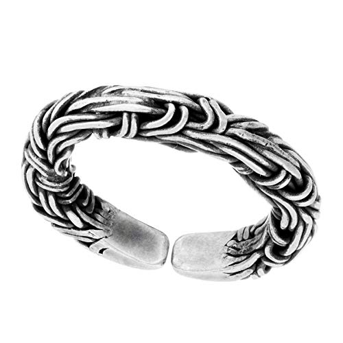 81stgeneration Frauen .999 Fein Silber Karen Hill Tribe Verflochtenes Kabel Seil Einstellbarer Ring