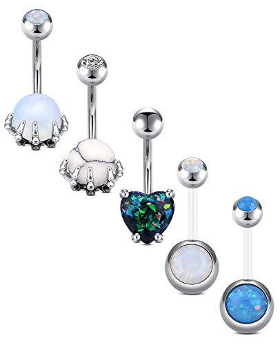 D.Bella 14G Belly Button Rings Dangle Surgical Stainless Steel Heart Shape Skull Hand Belly Rings Marble Stone Opal Navel Rings Piercing 10mm 3/8' Belly Button Piercing for Women