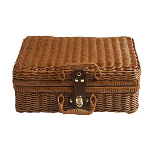 YUZI Vintage Rattan Aufbewahrungskoffer, gewebt, für Make-up, Koffer, Kleinteile