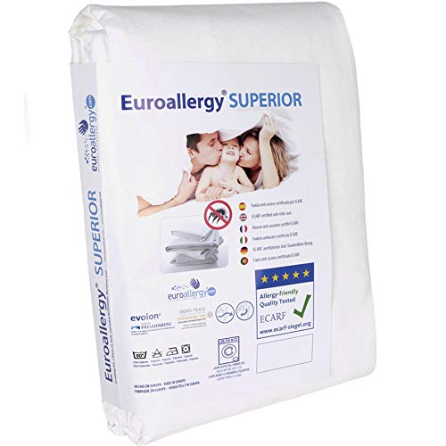 Euroallergy Superior | Integral Anti-Dust Mattress Cover | Certified Product | Complete with Zip | No Chemical Treatment | Many Sizes 140 x 200 x 23 cm. white