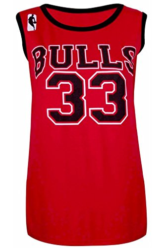 Damen Unterhemd Top-Basketball NBA Chicago Bulls 33 American Celebrity-Look, BULLS: RED, 8/10