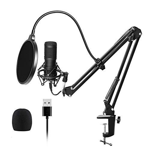 BLKykll Studioqualität USB-Kondensatormikrofon Mit,Mit Mikrofonständer Mikrofonarm Popschutz Für Aufnahmen, Podcast, Rundfunk Professioneller USB Kondensator Mikrofon Kit 192Khz / 24Bit