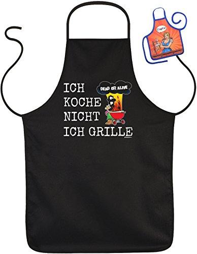 Lustige Rahmenlos Tablier humoristique Inscriptions Dead Or Alive je Cuisiniers pas je Grille – Barbecue de protection avec mini Tablier