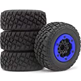 hobbysoul 4pcs 1/10 RC 2.2/3.0 Short Course SC Tires Tyres & Hex 12mm Beadlock Wheels Blue Color plastice Rims