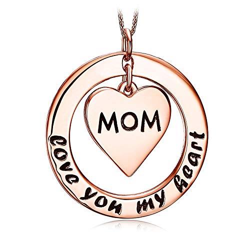 JewelryPalace Personalizzata Collana con Ciondolo a Forma di Cuore Mom Love You My Heart in Argento Sterling 925