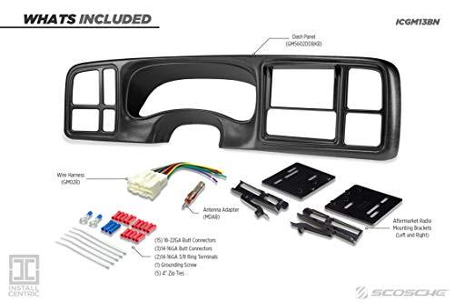 SCOSCHE ICGM13BN 1999 to 2002 Select Chevrolet Silverado, Suburban, Avalanche, Tahoe & GMC Sierra, Yukon/XL Full Dash Double DIN Installation Kit - Black