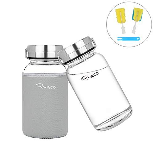 Ryaco Glasflasche Trinkflasche 800ml Breiter Mund Borosilikat Classic Tragbare BPA-frei Sportflasche Glas Wasserflasche zum Mitnehmen von kalten Heiß Getränken mit Neopren Tasche und Schwammbürste