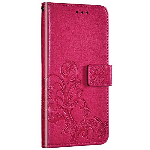 Saceebe Compatible avec Huawei P Smart Z Coque Housse en Cuir Portefeuille Etui Coque de Protection 3D Fleur Motif Flip Case Clapet Étui Carte Fente à Rabat Support Magnétique,Rouge