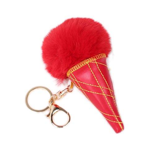 Bluelans Faux Kaninchen Pelz Eis Anhänger Schlüsselanhänger Kette Frauen Auto Tasche Schlüsselanhänger, rot, Einheitsgröße