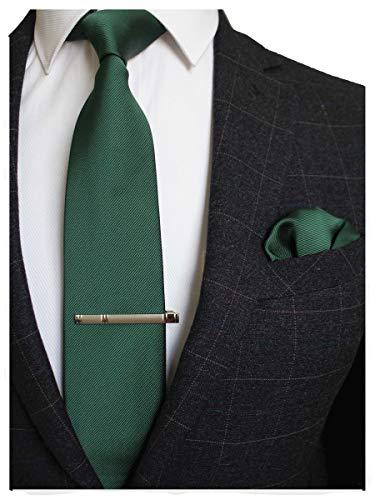 JEMYGINS Seide Krawatte Grün Dunkelgrün Krawatten und Einstecktuch mit krawattenklammer Set für Herren Seidenkrawatten Hochzeit Schlips (2)