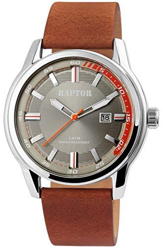 Raptor Herren-Uhr Echt Leder Armband Leuchtende Zeiger Analog Quarz RA20287 (braun/beige)