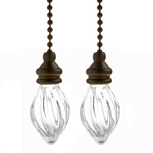 Saim Decorative Fan Pull Chain Set Lamp Pull Extension for Light Fan with 12 Inch Bronze Chains and Crystal Glass Pendant Decor, Pack of 2