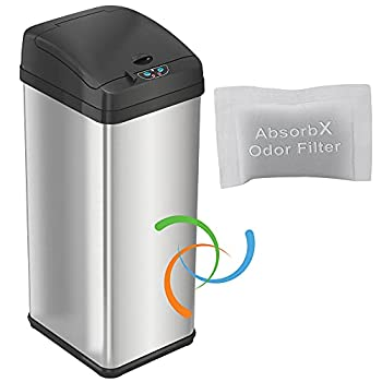 iTouchless 13 Gallon Touchless Sensor Trash Can with AbsorbX Odor Control System Stainless Steel Extra-Wide Lid Opening Kitchen Garbage Bin Silver