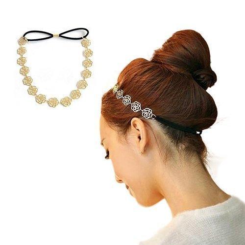BOLAWOO-77 Diadema Para Mujer Elegante Moda Metal Hairband Para Mujer Mode De Marca Elástico Diseño Del Arco Dulces Diademas Tocado Bronceado (Color : Picture, Size : One Size)
