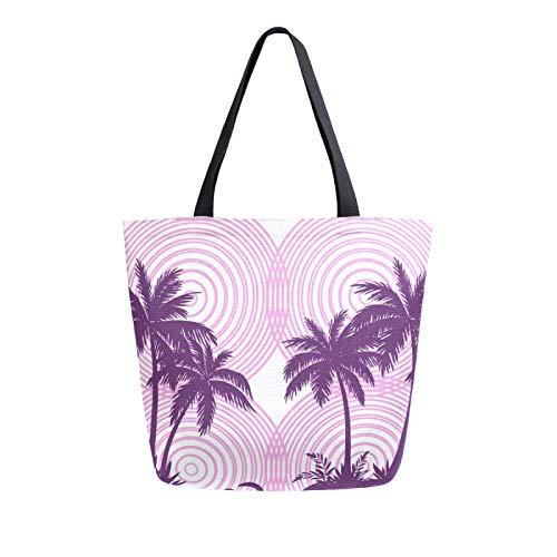 JinDoDo Canvas Bag Palms Trees Pattern Reusable Tote Bag Women Handbag for Shopping Travel Beach School