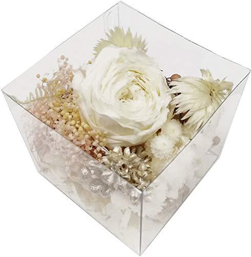 固まるハーバリウム クリアリウム キット 花材 リースアソート キューブ ホワイト