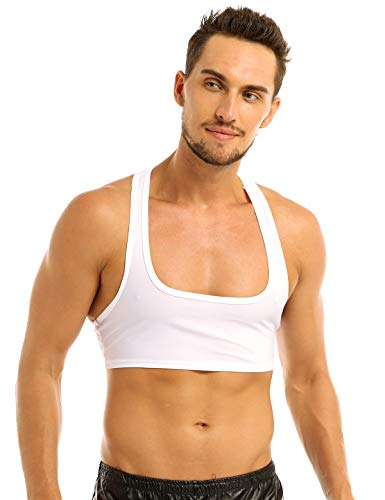 Freebily Mens Bodybuilding Workout Gym Muscle Half Tank Top Fitness Shirt Vest Crop Tops White X-Large