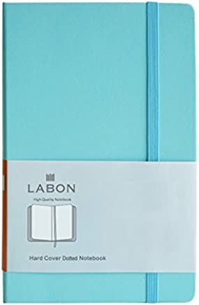 Labon's Hardcover Notebook Premium Thick Paper Journal Diary Elastic Band Expandable Paper Pocket (A5 LightBlue, Dotted)