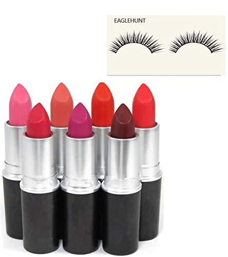 EAGLEHUNT MACC. 8 Combo of 7 Bullet Lipstick, 1 Eyelash