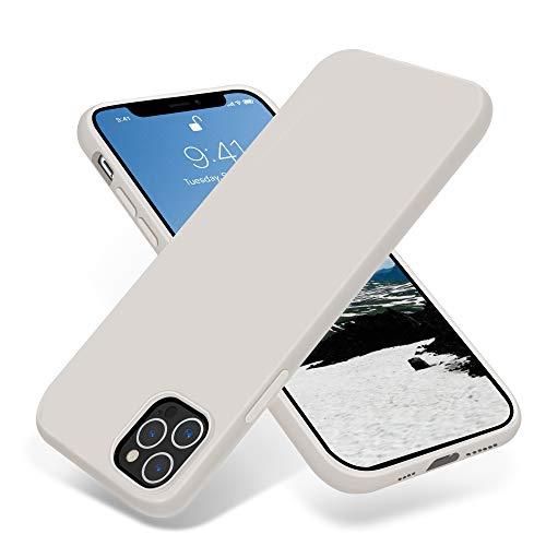 JELE Compatible with iPhone 12 Pro Max Case 6.7 inch(2020),Premium Soft Liquid Silicone Rubber Full-Body Protective Anti-Scratch Shockproof Bumper Case White Stone