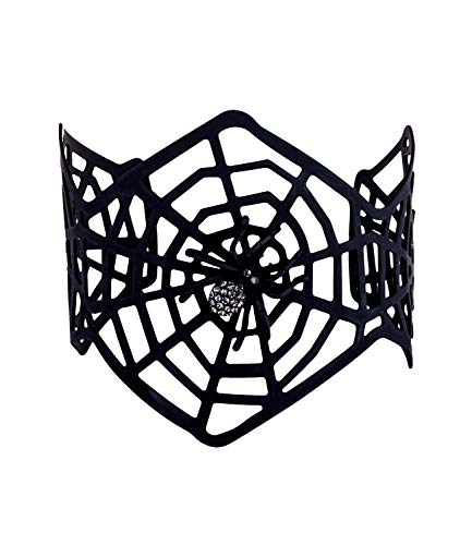 SIX Armreif: Auffälliger Armschmuck mit schwarzem Spinnennetz und Glitzer-Spinne,breit, perfekt für Halloween/Fasching/Karneval, schwarz (748-704)