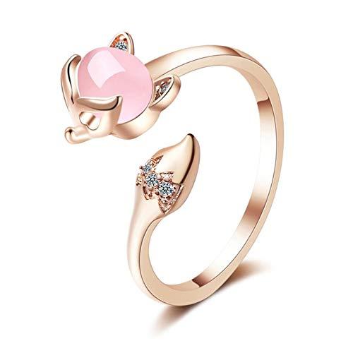 SHENSHI Ringe,Verstellbare Ringe Fox Cute Romantic Color Opal 925 Sterling Silber Mode Ringe Für Frauen, Gold, One Size