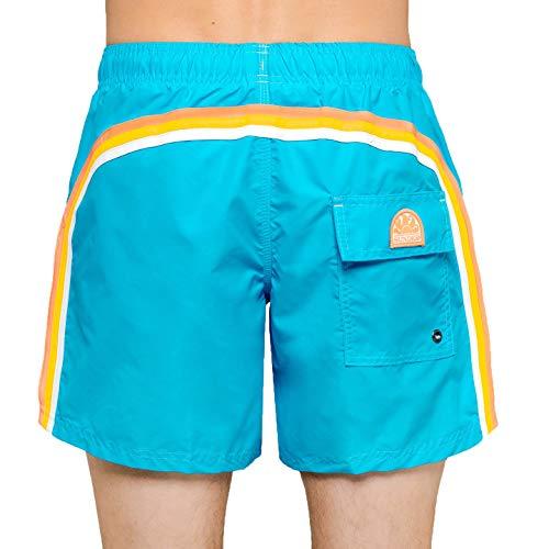 SUNDEK M504BDTA100-582 Boardshort Elastic Waist Cornflower Blue (Turquoise) Boxer Beach-Wear (S, Cornflower Blue)