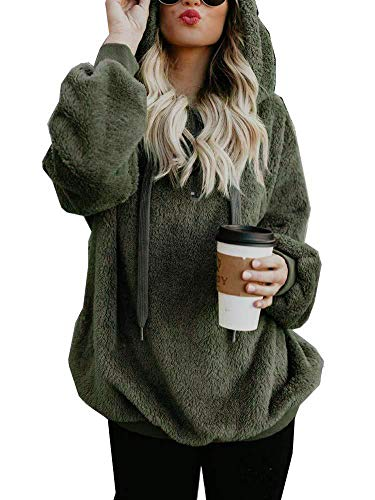 Yidarton Pullover Damen Hoodie Winter Lose Warm Kapuzenpullover Teddy-Fleece Langarm Oversize Sweatshirt mit Kapuze (Armeegrün, Medium)