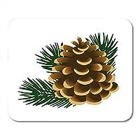 MLsbdゲーミングマウスパッド滑り止めブラウンシングル松ぼっくりと松の木の小枝緑の装飾オフィスノンスリップラバーバッキングマウスパッド滑り止めマウスマット