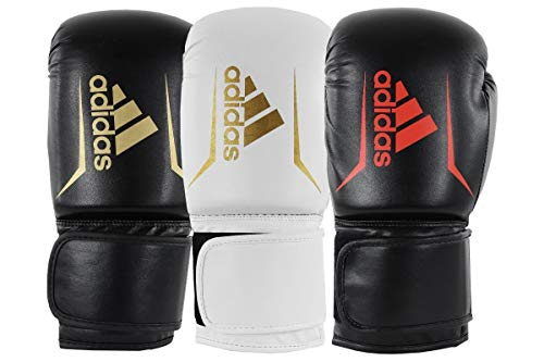 adidas Speed 50 Gym Fitness Training Workout Sparring Kick Boxing Gloves Mens Women Kids 6oz 8oz 10oz 12oz 14oz 16oz Boxhandschuhe, Weiß/Gold, 453,6 g (16 oz)