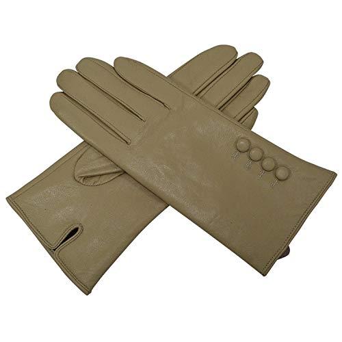 Womens Lederhandschuhe Schaffellhandschuhe für Frauen Schwarz Guantes Echtlederhandschuhe Fashion Womens Handschuhe Fäustlinge Khaki M